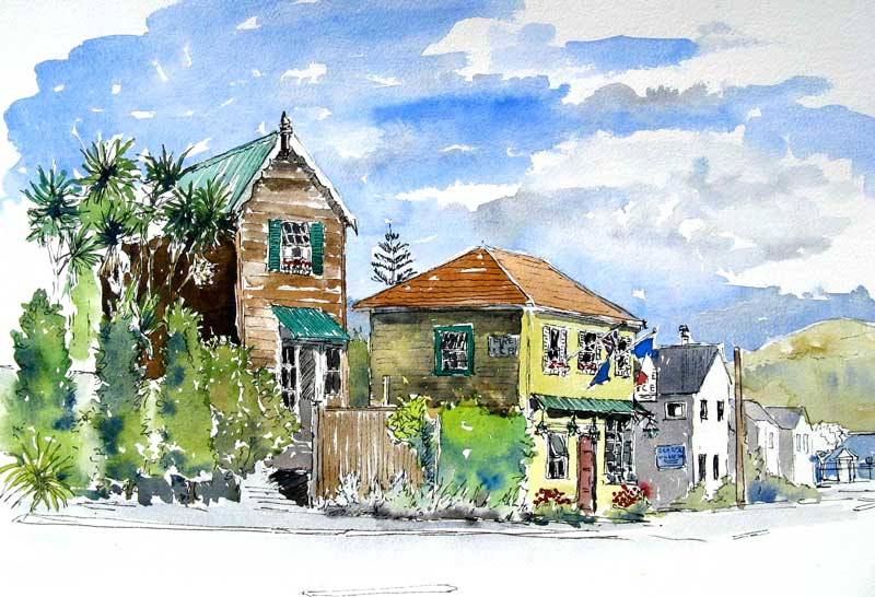 Street Scene, Akaroa by Quilliam Collister