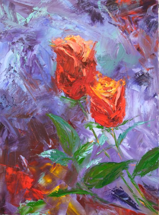 Roses in Palette Knife by Isabella Bentley-Moore