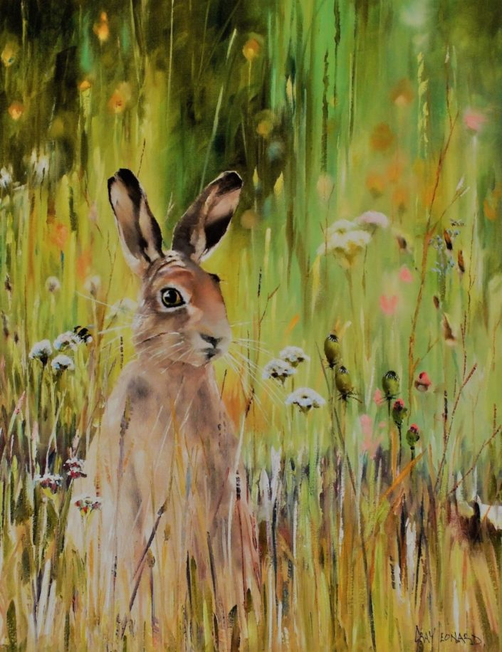 Hare, oil painting by Gray Leonard