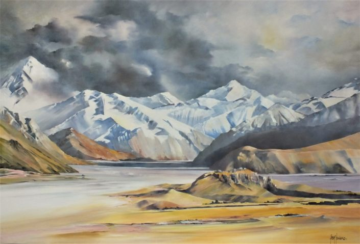 Mt. Sunday Rangitata Valley, oil painting by Gray Leonard
