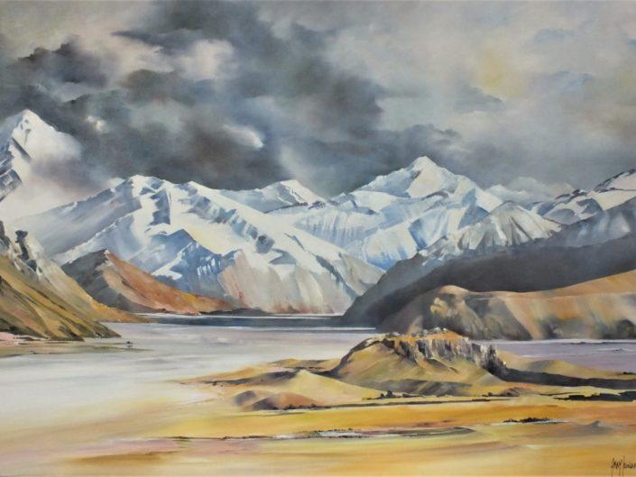 Mt. Sunday Rangitata Valley, oil painting by Gray Leonard
