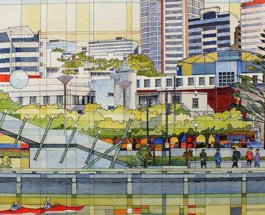 Wellington, watercolour by Gray Leonard