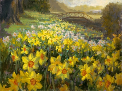 """Daffodills"", oil painting by Livia Dias"