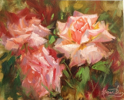 """Roses"", oil painting by Livia Dias"