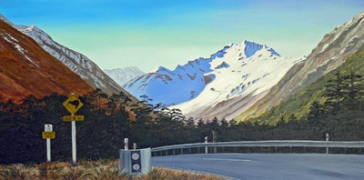 """Arthurs Pass"" painting by Ruth Reid"