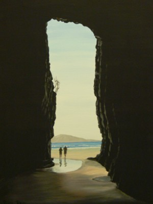 """""""Caitlins, South Island, NZ - Cathedral Caves"""" acrylic painting by Ruth Reid"""