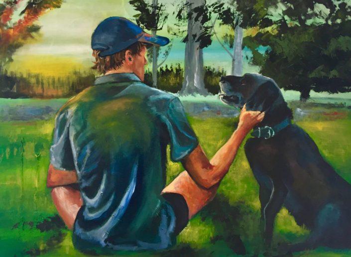 Boy and Dog by Corina Hazlett