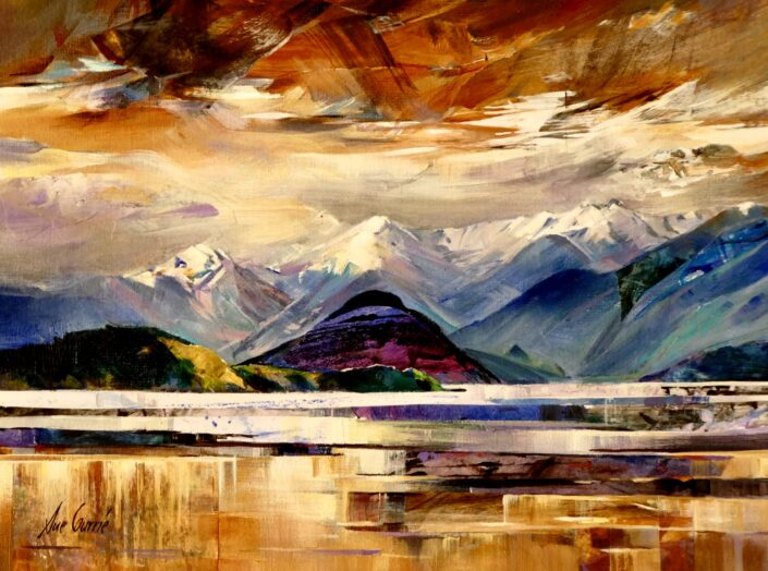Bright Skies over Lake Manapouri by Sue Currie