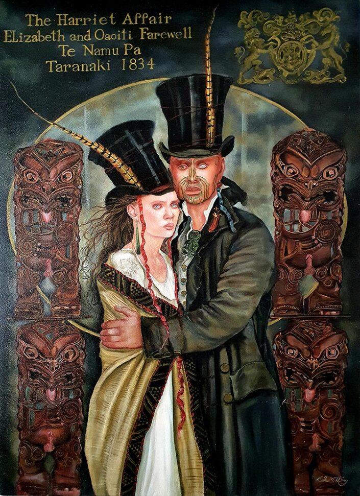 Elizabeth and Oaoiti Farewell Te Namu Pa Taranaki by Rhonye McIlroy