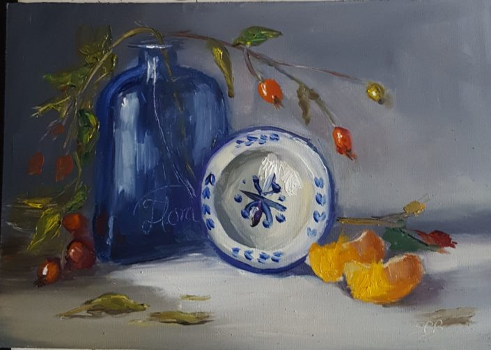 Mandarins with Blue by Sandie Brown