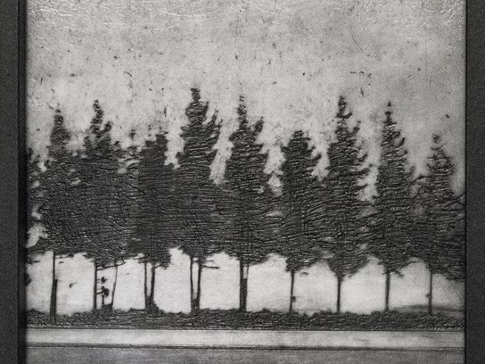 Tree Road, wax mixed media by Roseanne Jones
