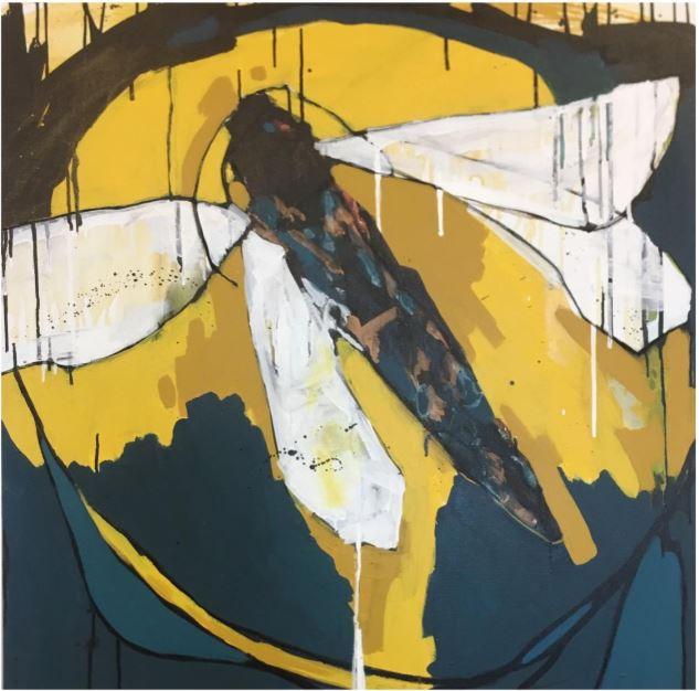 Image: Vashti Johnstone, Purehurehu, 2018, ink charcoal and acrylic on