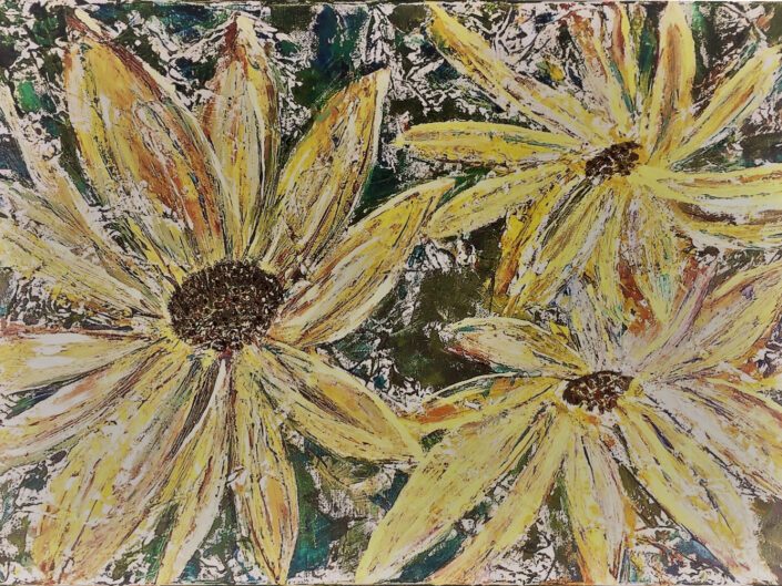 Sunflowers in Silver by Yvonne Gilmore