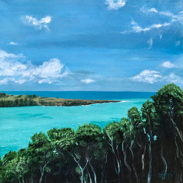 Te Akaroa, painting by Cesar Gonzalez
