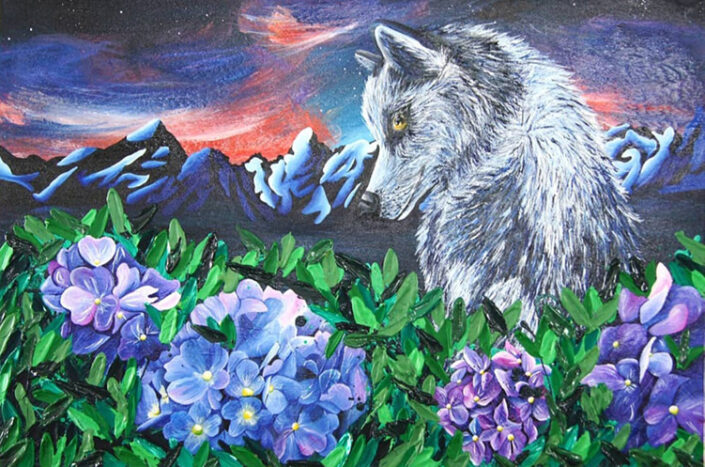 Husky and Hydrangea by Sally Hart